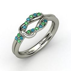 studded hercules knot palladium ring with emerald & london blue topaz...