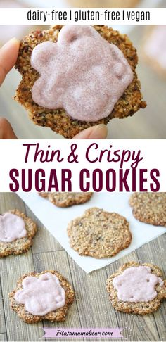 Only ten ingredients in this gluten-free sugar cookie recipe! These healthy sugar cookies are simple to make and come out ultra-thin, crispy, and addictive. Though they're dairy-free and gluten-free they taste like they're traditionally butter loaded. Leave them as is or decorate them with a simple, three-ingredient sugar cookie icing! #sugarcookies #christmascookie #glutenfreecookies #easyglutenfree #glutenfreechristmas #glutenfreebaking #sugarcookiefrosting