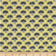 Michael Miller Pastel Pop Citron Gray Flannel Fannie Citron