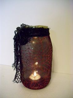 Handmade HALLOWEEN CANDLE Holder Made from by ShopOfCraftsByMyrna, $12.00