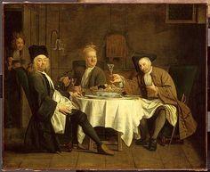 Jacques AUTREAU. (1657-1745) Les buveurs de vin. Autre titre : Le poète Piron à table avec ses amis. Musée du Louvre.