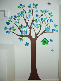 Babykamer boom muurschildering dieren uiltjes vogeltjes