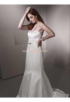 Robe de mariée sirène satin dentelle ruban