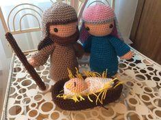 Crochet Mary, Joseph and Baby Jesus (Nativity set)