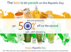 TNC announces the 14 days shopping extravanganza till the 26th of January'14 to commemorate the 65th Republic Day with its customers. Celebrating the spirit of Republic Day, TNC salutes the essence of freedom by offering a flat 50% off on every second product the customer purchases.  So don't wait any longer and join the shopping parade today! :)
