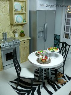 Barbie Dollhouse Kitchen view 2   by SS-Designs Doll Interiors