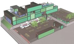 <p>A shipping container development is set to be built next year at 22 NW 7 by Nick and Carly Faulkner, the owners of The Fit Pig, a restaurant that opened across the street in November. [Drawing Provided]</p>