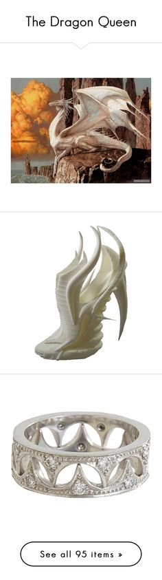 The Dragon Queen by zer0ang3l83 on Polyvore featuring polyvore, dragons, art, animals, backgrounds, shoes, heels, sapatos, fashion, jewelry, rings, silver, colorless, band jewelry, clear jewelry, cathy waterman, clear crystal jewelry, clear crystal ring, crowns, accessories, tiara, hair, clothing, dresses, gowns, long dresses, vestidos, murad dresses, murad, necklaces, colar, tribal belly dance jewelry, tribal necklace, silver chain necklace, tribal jewelry, belly dance jewelry, women…