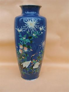 Japanese Cloisonne Vase silver wire crane flowers