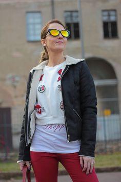 Maggie-Dallospedale-,Felpa e pantaloni rossi #kissmylook