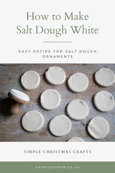 Easy recipe for white salt dough ideal for making Christmas Ornaments and gift tags for a homemade Christmas. How to make salt dough white with this easy recipe for air and oven-dried white salt dough ideal for Christmas ornaments and gift tags Salt Dough Christmas Ornaments, Homemade Ornaments, Clay Ornaments, Homemade Christmas, Salt Dough Recipe For Ornaments, Christmas Cookies, Diy Christmas Decorations, Handmade Christmas Crafts, The Rainbow Fish