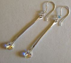 Crystal earrings, silver earrings, dangle earrings, drop earrings, silverbymaggie, stick earrings, gifts for her, fashion jewelry, bohochic by SilverByMaggie on Etsy