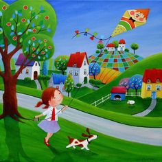 Paintings and illustrations by Iwona Lifsches. Art presentation and sale of original paintings and other art products. Arte Popular, Happy Art, Naive Art, Whimsical Art, Acrylic Painting Canvas, Drawing For Kids, Cute Illustration, Cute Art, Folk Art