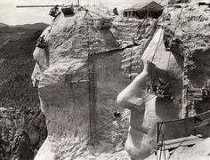 Thomas Jefferson at Mount Rushmore under construction, 1939