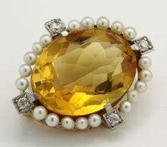 Antique-Nouveau-14k-Gold-Platinum-9-87-Ct-Madeira-Citrine-Diamond-Brooch-Pin