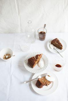 pear coffee hazelnut cake