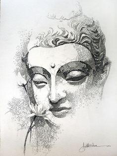 50 brillante Buddha Tattoos und Ideen mit Bedeutung Art and visuals Buddha Tattoo Design, Buddha Tattoos, Art Buddha, Buddha Drawing, Buddha Painting, Art Du Croquis, Indian Art Paintings, Sketch Painting, Sketch Drawing