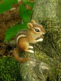 Chipmunk feutrée à laiguille animal woodland taille par Ainigmati