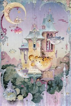 """""""At it Again"""" ~ Daniel Merriam ~ Watercolorist Extraordinaire. This is rather whimsical. I like the colour palette used as well."""