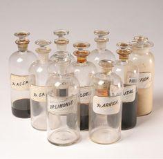 Stoppered Pharmacy Bottles Glass Labels