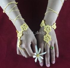 Wholesale Wedding Gloves - Buy Yellow Lace Wedding Glove Crochet Patterns Gloves, Flowers Bridesmaid Bride Sexy Steampunk Jewelry Fingerless Glove, $3.27 | DHgate