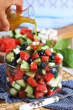 Ready in less than 10 minutes, this refreshing and easy Watermelon Blueberry Feta Salad with Cucumber is like summer in a bowl. Leap friendly except feta! Can use goat cheese instead. Refreshing and simple, Watermelon Blueberry Feta Salad with Cucumbers i Healthy Salads, Healthy Eating, Healthy Recipes, Healthy Summer Snacks, Healthy Foods, Simple Recipes, Grilled Vegetable Salads, Simple Salads, Easy Summer Salads