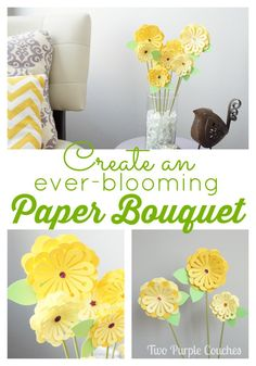 "Create an ""everblooming"" Paper Bouquet with your Silhouette by Two Purple Couches #papercraft #paperflowers #3D"