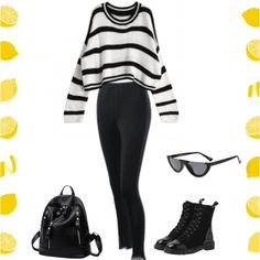 Cool black and white outfit.  #outfit #outfits #Zaful #style #trendy #stylish #stripes ##blackandwhite