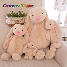 5.50$  Buy here - http://aliwix.shopchina.info/go.php?t=32802441517 - Cuddly Long Ear Bunny Fluffy Rabbit Plush Toys Cushion Stuffed Soft Dolls Kids Partner Birthday Christmas Gift childen comfort   #magazineonline