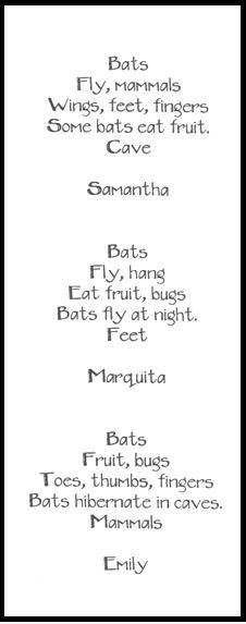 Hanging Out with Stellaluna -- Pt. 3  Bat shaped poems