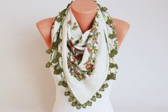 Turkish oya scarf Hand crocheted  VINTAGE Yazma scarf by SenasShop, $24.90