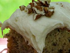 Pine Cones and Acorns: Best Ever Banana Cake with Cream Cheese Frosting.  This cake is easy and fabulous. Frankly it is the best banana cake ever!