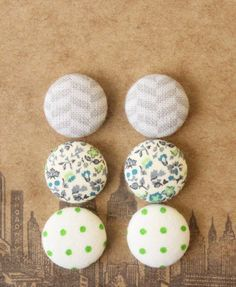Image result for button earrings fabric horses
