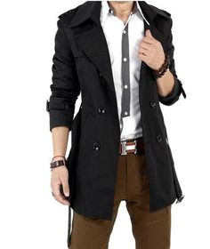 OTW Mens Classic Single Breasted Belted Stylish Solid Color Windbreaker Trench Coat Overcoat