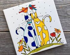 Ceramic tile hand painted birds lover square trivet by   Etsy