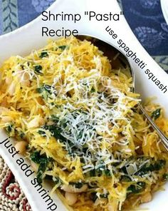Spaghetti Squash Recipe with Spinach, Feta & Basil White Beans- made this for dinner tonight! Spinach Recipes, Vegetable Recipes, Pasta Recipes, Vegetarian Recipes, Dinner Recipes, Cooking Recipes, Healthy Recipes, Healthy Meals, Gnocchi Recipes