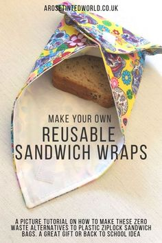 How to Make your own reusable sandwich wraps – an alternative to plastic ziplock bags for packed lunches. A zero waste kitchen swap. Pictorial guide to making these - How To Make Reusable Sandwich Wraps ⋆ A Rose Tinted World Sewing Projects For Beginners, Easy Sewing Projects, Sewing Hacks, Sewing Tutorials, Sewing Crafts, Sewing Diy, Art Projects, Wraps, Costura Diy