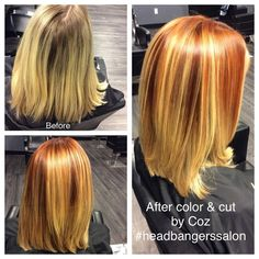 Great fall color by Coz. #headbangerssalon #devonpa #redhair #blondehair #wellalife #wellahair