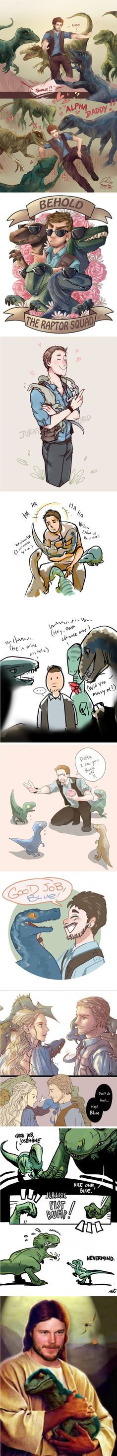 These are the cutest fanart of the Raptor Crew you will find on the internet. Jurassic World 4. Chris Pratt.