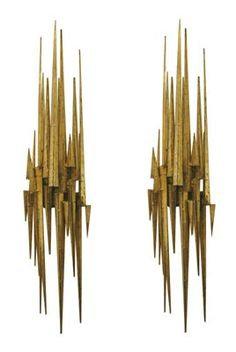 "Pair of Gilded & Patinated Brutalist Steel Spike Wall Sconces. These are 37"" long."