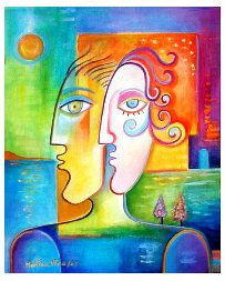 """THE COUPLE 20"""" x 16"""" x 3/4' Oil And acrylic on stretched canvas by Marlina Vera"""