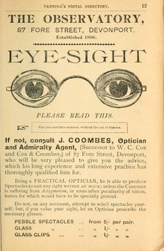 Vintage opticians ad. For more info on glasses check out www.visionsourcespecialists.com #glasses