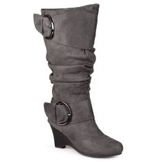 Wide-Calf Buckle Slouch Wedge Knee-High Boot