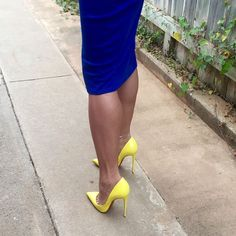 Jenny: yellow pumps, toe cleavage, and great calves