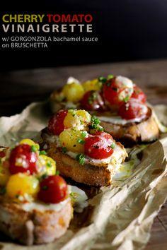 Cherry tomato vinaigrette and gorgonzola sauce on bruschetta