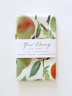 Mignon | citrus watercolor tea towel