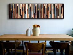 "Modern Reclaimed Wood Wall Art - ""Sea Crest"" -  in Browns, Blues, Green, and White Stripes - Wood Painting"