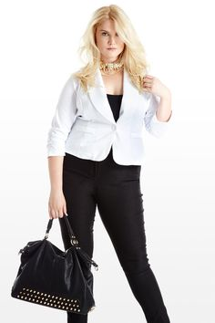 White Pages Ruched Plus Size Blazer