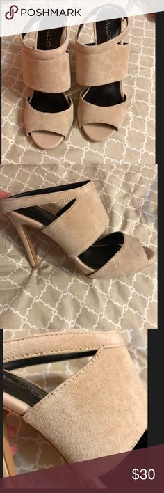 Aldo heels Suede, Nude colored heels from Aldo.  These are a re-posh.  My feet are a bit too thin for them and therefore do not fit correctly.  My loss is your gain! These heels are in great condition and can easily dress up and match any outfit you have. I love these! Aldo Shoes Heels