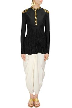 AYINAT BY TANIYA O'CONNOR Black gota work crushed silk top with ivory dhoti pants available only at Pernia's Pop-Up Shop.